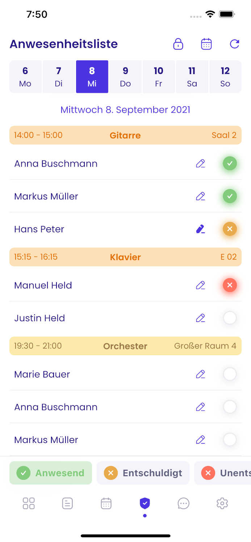 Screenshot der Anwesenheitsliste in der Appella App.