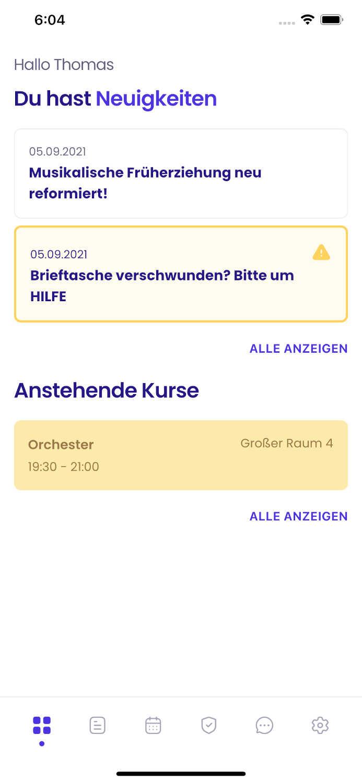 Screenshot der Dashboard Ansicht der Appella App.             Darauf zu sehen sind aktuelle Neueigkeiten und anstehende Unterrichtseinheiten.