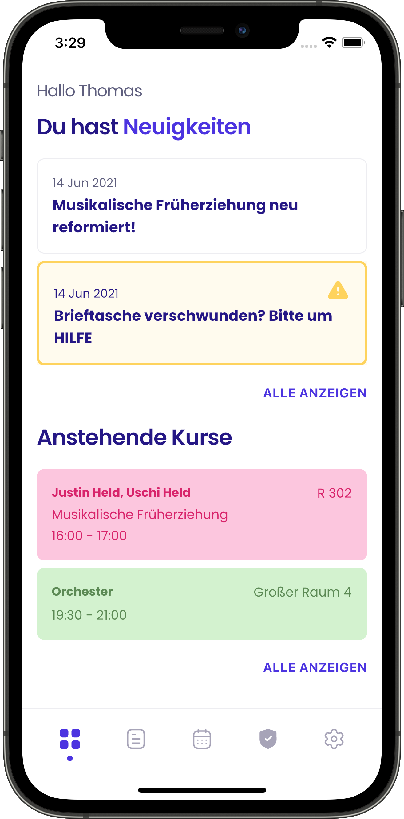 Ein Screenshot des Dashboards der Appella App in einem Smartphone. Auf dem Dashboard sind aktuelle     Neuigkeiten und anstehende Kurse zu sehen.