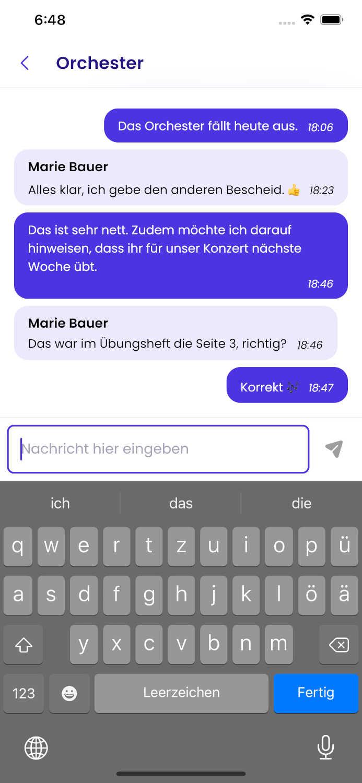 Demo Screenshot des eingebauten Messengers.