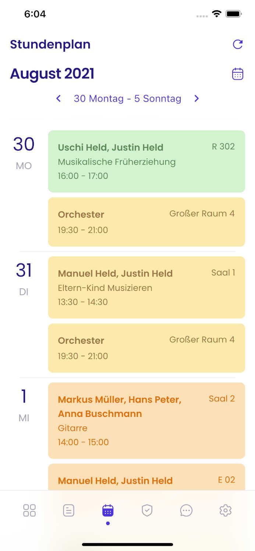 Screenshot des Stundenplans in der Appella App.